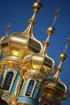 Domes of Catherine Palace, Pushkin, St. Petersburg - Russia