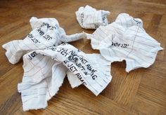 Catherine Rosselle  makes bandages for broken hearts and these are her lovely scrunched up (textile) love letters .