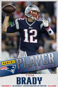 Brady voted as your Week 5 Panini Player of the Game #PatriotsNation