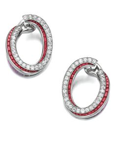 Pair of ruby and diamond earrings, monture Boucheron: Each designed as a hoop… Ruby Earrings, Diamond Drop Earrings, Stone Earrings, Diamond Jewelry, Silver Earrings, Multiple Earrings, Small Earrings, Necklace Drawing, Unique Jewelry