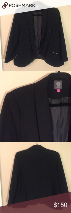 """VINCE CAMUTO Blazer NWOT!! Open front, shawl collar blazer with zippered pockets. Zipper pulls still covered in protective tape!! Laid flat chest measures 20"""", length from shoulder to hem is 25"""". Fits true to size. Vince Camuto Jackets & Coats Blazers"""