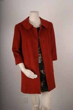 Vintage Jacket Red Burnt Orange 1950s 1960s coat by sparrowlyn, $84.00