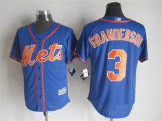 New York Mets #3 Curtis Granderson Alternate Blue With Orange 2015 MLB Cool Base Jersey