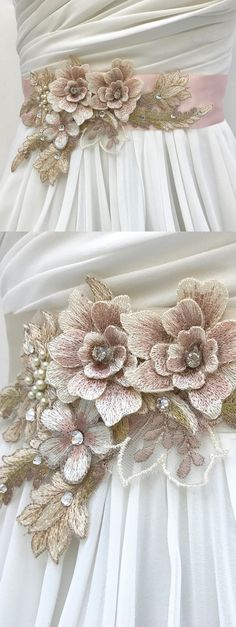 Exquisite vintage style hand sculpted floral lace bridal sash with 3D embroidered flowers and sparkling Swarovski crystals. Floral Lace Bridal Sash,Wedding Sash In Pale Champagne And Blush With Swarovski Crystals, Wedding Dress Sash, Flower Sash wedding ideas. #springwedding #summerwedding #weddings #bridalsash #bridalaccessories #affiliatelink #etsyfinds