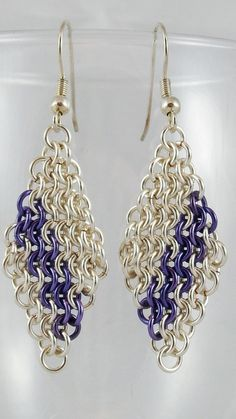 Lavender Slant Chainmaille Diamond by TheAlaskanMailleMan on Etsy