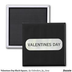 Valentines Day Black Square Magnet by Janz