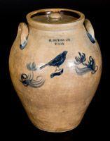 Rare 3 Gal. R. SEYMOUR / TROY Ovoid Stoneware Lidded Jar w/ Incised Bird