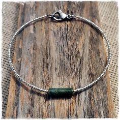 Dainty Moss Agate Tube Healing Gemstones by LangFamilyJewelry