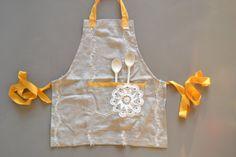 full apron  oatmeal linen  mustard accents  by xxxRedStitcHxxx, €20.00