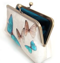 Blue butterflies clutch bag, silk purse with chain handle Dupion Silk, Wedding Bag, Blue Butterfly, Clutch Purse, Customized Gifts, Leather Shoulder Bag, Gifts For Her, Butterflies, Chain