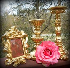 Gold Home Decor-Matching Frame & Candle Holders-Formal Reception,Wedding Supplies,Shabby,Victorian,Custom Colors,Pillar Candle Holder,Rococo