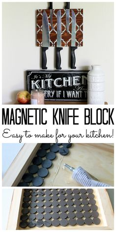 Make a magnetic knife block for your kitchen! A great way to organize your knives in plain sight and out of the way! Shared by The Country Chic Cottage ~ shared at Brag About It link party on VMG206 (Mondays at Midnight)! #VMG206