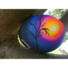 Discover thousands of images about Sunset Tree Silhouette Painted Rock Pebble Painting, Pebble Art, Stone Painting, Shell Painting, Silhouette Painting, Tree Silhouette, Sunset Silhouette, Rock Painting Ideas Easy, Rock Painting Designs