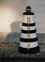 Clay Pot Lighthouse. Repinned from Simply Beautiful Things by Karen Breeden