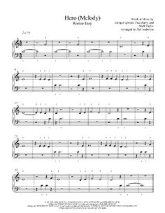 Hero (Melody) by Enrique Iglesias Piano Sheet Music | Rookie Level
