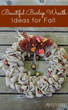 Love this beautiful burlap wreath for fall! The sparkly ribbon really dresses it up.