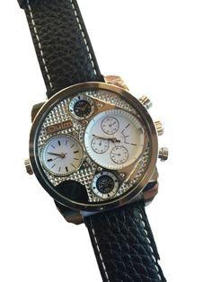 ゴツい! 重厚感! Oulm アナログ 多重表示 Four Sub-dials Black Bezel Men 男性用 メンズ 腕時計 cos time-5 (ホワイト)