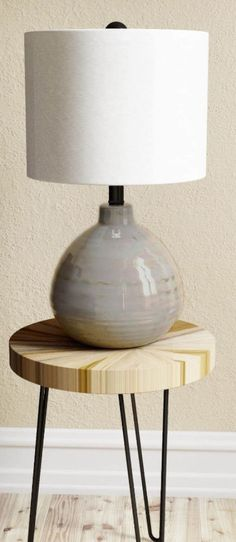 Traditional Ceramic Accent Table Lamp Linen Fabric Drum Shade Home Decor New #TableLamp