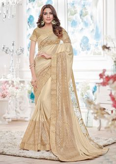 775973 White and Off White color family Party Wear Sarees in Lycra fabric with Lace work with matching unstitched blouse. Off White Saree, Indian Sarees Online, Chiffon Saree, Silk Sarees, Designer Wear, Designer Sarees, Indian Ethnic Wear, Indian Attire, Off White Color