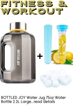 (This is an affiliate pin) BOTTLED JOY Water Jug 75oz Water Bottle 2.2L Large Water Bottle Clear Water Bottle with 20pcs Ice Cubes and Fruit Infuser Wide Mouth BPA Free Sports