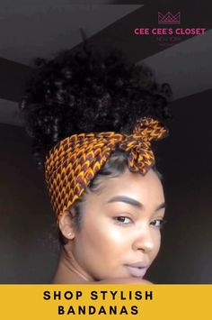 Shop stunning easy to style bandanas today! Shop stunning easy to style bandanas today! Hair Wrap Scarf, Hair Scarf Styles, Curly Hair Styles, Natural Hair Styles, Natural Hair Tutorials, Bandana Styles, Bandana Hairstyles, Braided Hairstyles, Easy Natural Hairstyles