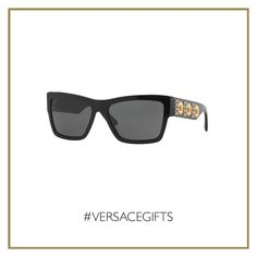 Make a strong impact wearing these bold #Versace black sunglasses enriched by three gold Medusa heads. #VersaceMenswear #VersaceGifts