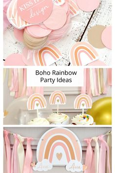 Everything you need to plan your custom Rainbow Party. Available at KissHug Design. #rainbowparty 1st Birthday Girl Decorations, 2nd Birthday Party For Girl, Rainbow First Birthday, Girls Party Decorations, Baby Party, Rainbow Theme Baby Shower, Kids Party Supplies, First Birthdays, Boho