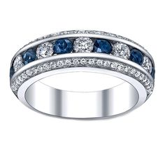 Three Row Diamonds & Blue Sapphire Wedding - Anniversary Ring - do this with emeralds Radiant Cut Engagement Rings, Emerald Cut Diamond Engagement Ring, Floral Engagement Ring, Diamond Wedding Rings, Vintage Engagement Rings, Wedding Bands, Solitaire Ring, Wedding Anniversary Rings, Anniversary Jewelry