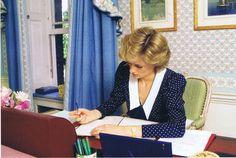 Princess Diana at her desk, Kensington Palace...