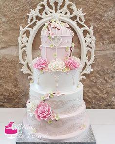 Shabby Chic/Romantic wedding cake by Gâteau de Luciné