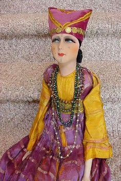 100% True Rare Antique Porcelain Boudoir Half Doll Fasold & Stauch Art Deco Flapper Blue And To Have A Long Life. Bisque