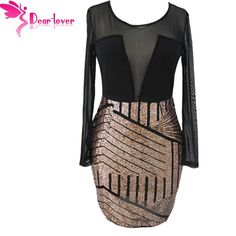 Dear Lover Bodycon Dresses Autumn Women 2016 Sexy Long Sleeves Mesh Shadow Sequin Bottom Dress Party Night Vestido.     Estimated Delivery Time:12-20days.
