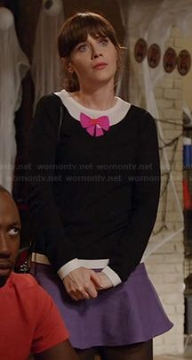 Jess's black sweater with pink bow and purple skirt on New Girl.  Outfit Details: http://wornontv.net/21134/ #NewGirl #Fox
