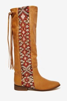 Howsty Aisha Tan Leather Boot - features woven tapestry panel, fringe detail, and low stacked heel.