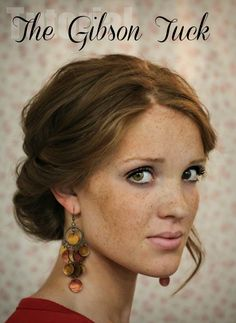 The Gibson Tuck – DIY Step By Step Hair Tutorial A quick and easy holiday undo. Would have to make it looser for curls. The Gibson Tuck – DIY Step By Step Hair Tutorial - I like the earrings too My Hairstyle, Pretty Hairstyles, Wedding Hairstyles, Hairstyles Haircuts, Summer Hairstyles, Hairstyle Ideas, Gibson Tuck, Gibson Girl, Twisted Hair