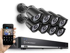 Amcrest DVR Video Surveillance Security Kit with 8 x Bullet Outdoor and Night Vision Cameras Video Security System, Best Home Security System, Diy Home Security, Home Security Camera Systems, Security Cameras For Home, Security Solutions, Video Surveillance Cameras, Security Surveillance, Surveillance System