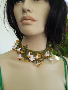 Multicolor Lariat With Grey Strand - Crochet flower necklace - Crochet oya lace - Turkish Crochet Lace - Turkish Oya-