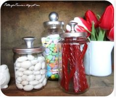 DIY Home Decor Ideas..old jars with cupbard handles on top, spray painted silver...so friggin cute!