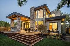 Rustic Modern Home Design never go out of types. Rustic Modern Home Design is usually ornamented in many approaches each home furniture decided on declare a Modern Prefab Homes, Prefabricated Houses, Casas Containers, Modern Exterior, Stone Exterior, Modern Garage, Stone Facade, Rustic Exterior, Modern Craftsman
