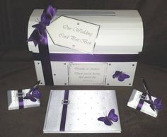 purple+wedding+guest+book | ... Purple White Butterfly Wedding Chest Post Box with Matching Guest Book