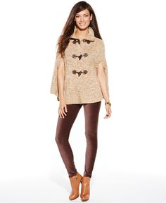 MICHAEL Michael Kors Petite Toggle Mock-Neck Poncho