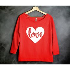 Love Shirt Valentines Day Off the Shoulder Shirt Valentines Shirt... ($23) ❤ liked on Polyvore featuring tops, red, women's clothing, red heart shirt, off shoulder tops, red checkered shirt, heart print shirt and print shirts