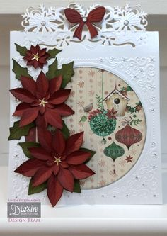 By Linda Fitzsimmons Christmas Bow Edge'able Festive Frame Embossing Folder –  Sara's Signature Collection Centura Pearl – Hint of Silver Festive Wonder 6x6 paper - Sara's Signature Collection Gold Mirri Christmas Classiques Poinsettia Die Red and Green Core'dinations Gems. Collall Glue, Tacky Glue, 3d glue gel