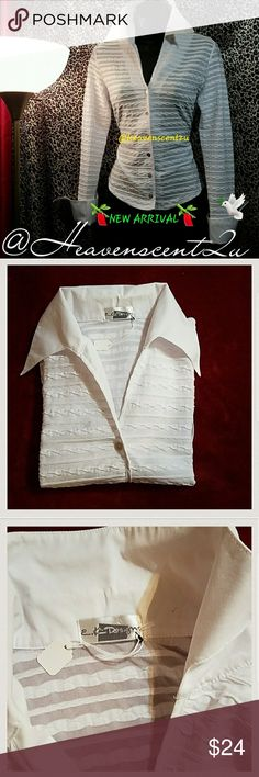 crisp-&??white blouse has a stretch fabrication that's very comfortable- stand up pointed collar and french cuffs are of crisp cotton.  semi-finals shirt tail hem.  currently not available for purchase.  Thanks for stopping by my posh closet  Please come again soon.  Ciao Tops Blouses