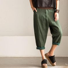 Korean Style Casual Panst Linen Women Trousers K3788A