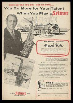 1954 Marcel Mule photo Selmer saxophone vintage print ad