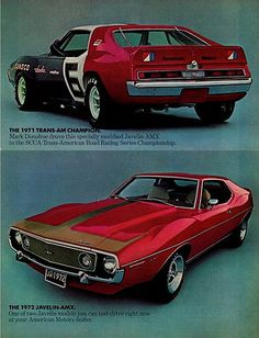 AMC Javelin Ad featuring the 1971 Mark Donohue Trans Am Javelin AMX