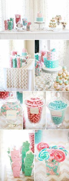 Blue & Pink candy buffet.