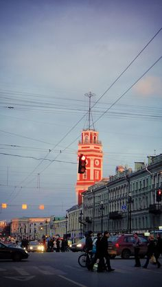 Nevsky Prospekt. Saint Petersburg. Russia. April 2011. Evening light in Spring.