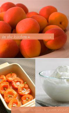 Baked apricots  greek yogurt.